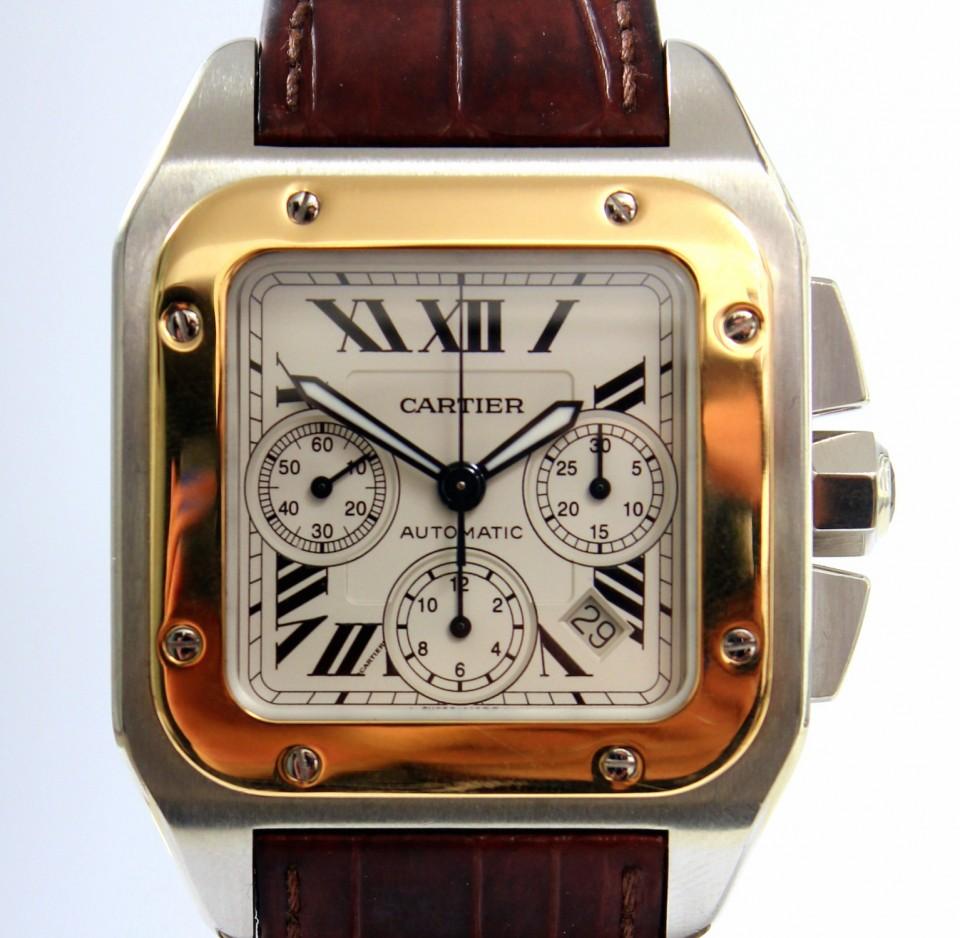 Cartier Santos 100 XL Goud/Staal Chronograaf Ref.2740