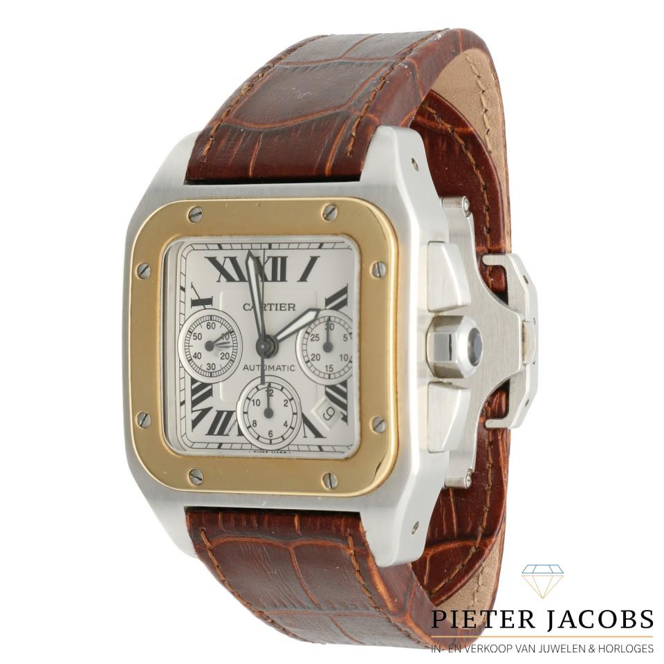 Cartier Santos 100 XL goud/staal Ref. 2740