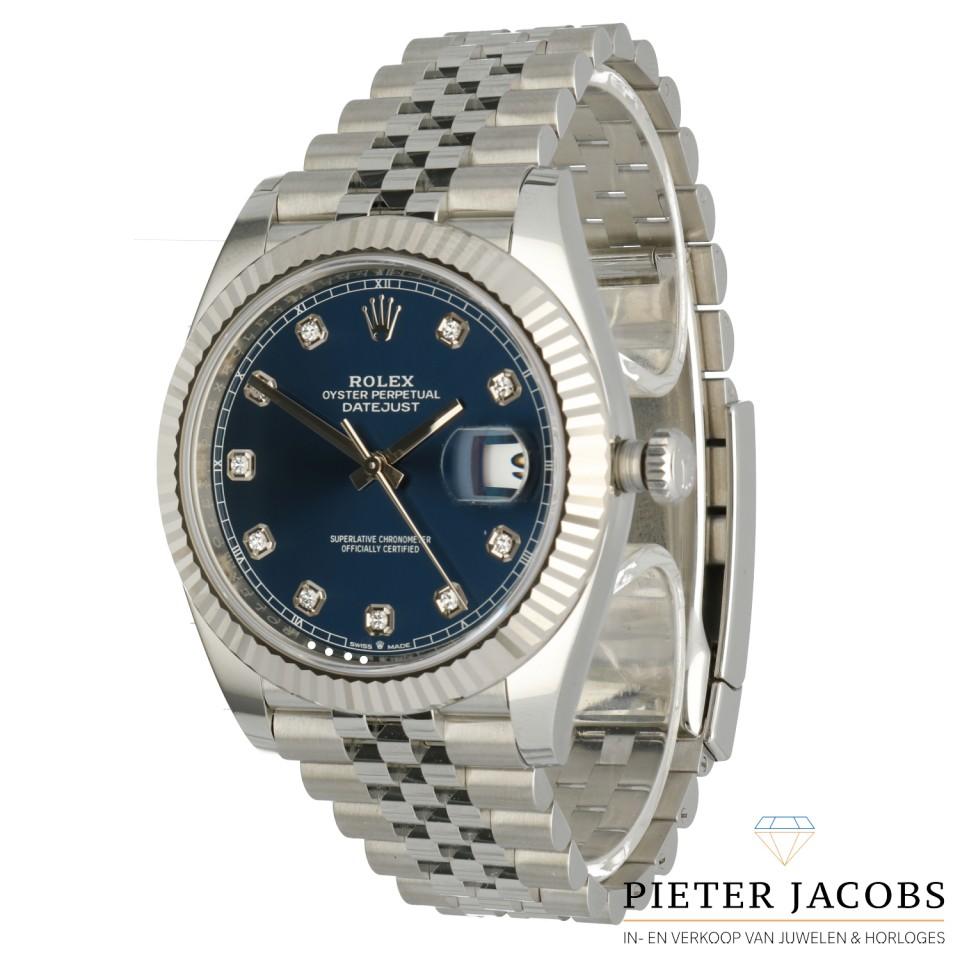 Rolex Datejust 41 Blue dial met Diamant Ref. 126334