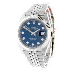 Rolex Datejust 41 Blue Index Ref.126334 met diamant.