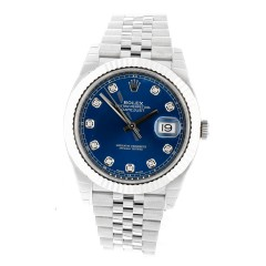 Rolex Datejust 41 Blue Index Ref.126334 met diamant.
