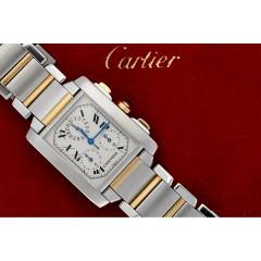 Cartier Tank Francaise Chronoflex. Goud/staal